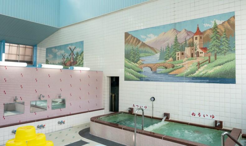 """""""モザイクタイルで表現されたスイス山水の風景画"""""""