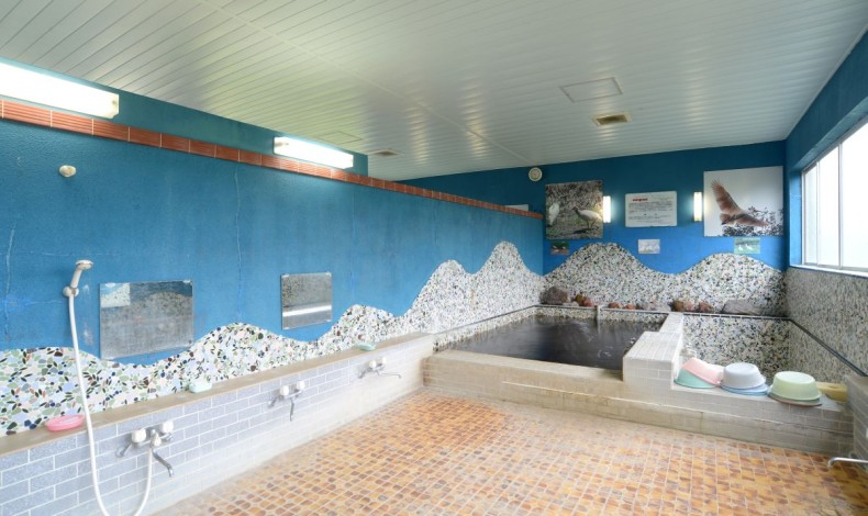 """""""佐渡の海ような蒼い壁面が特徴的な浴室です。"""""""