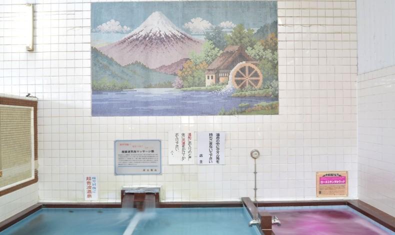 """""""銭湯と言えば富士山。年月を経ても色あせないモザイク画です。"""""""